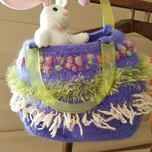 Purple felted purse or easter basket.